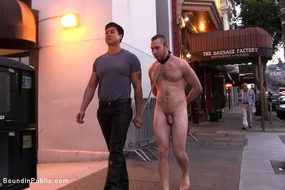 Photo number 14 from 19 year old stud with a giant cock gets used and humiliated in public shot for Bound in Public on Kink.com. Featuring Steve Vex and     Cody Allen in hardcore BDSM & Fetish porn.