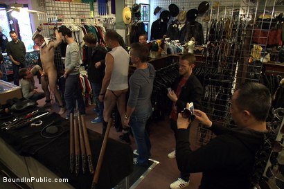 Photo number 1 from 19 year old stud with a giant cock gets used and humiliated in public shot for Bound in Public on Kink.com. Featuring Steve Vex and Cody Allen in hardcore BDSM & Fetish porn.