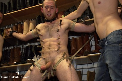 Photo number 7 from 19 year old stud with a giant cock gets used and humiliated in public shot for Bound in Public on Kink.com. Featuring Steve Vex and Cody Allen in hardcore BDSM & Fetish porn.