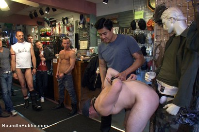 Photo number 4 from 19 year old stud with a giant cock gets used and humiliated in public shot for Bound in Public on Kink.com. Featuring Steve Vex and Cody Allen in hardcore BDSM & Fetish porn.