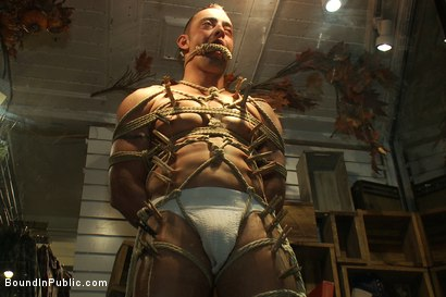 Photo number 13 from Ripped Muscle, Fat Cock, Round Ass, Humiliated in Public shot for Bound in Public on Kink.com. Featuring Christian Wilde and Fabio Stallone in hardcore BDSM & Fetish porn.