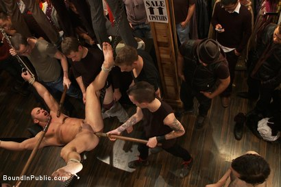 Photo number 6 from Ripped Muscle, Fat Cock, Round Ass, Humiliated in Public shot for Bound in Public on Kink.com. Featuring Christian Wilde and Fabio Stallone in hardcore BDSM & Fetish porn.