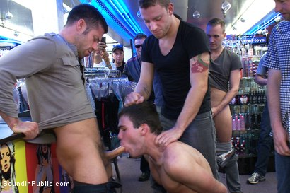 Photo number 9 from Horny men take down a cocky hustler at a busy sex arcade shot for Bound in Public on Kink.com. Featuring Tristan Jaxx, Leon Knight and Jimmy Fanz in hardcore BDSM & Fetish porn.