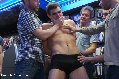 Photo number 1 from Horny men take down a cocky hustler at a busy sex arcade shot for Bound in Public on Kink.com. Featuring Tristan Jaxx, Leon Knight and Jimmy Fanz in hardcore BDSM & Fetish porn.