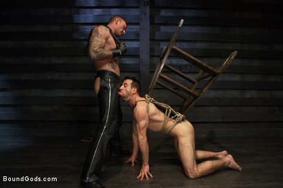 Photo number 8 from The Beast of Burden shot for Bound Gods on Kink.com. Featuring Ricky Sinz and Jason Miller in hardcore BDSM & Fetish porn.
