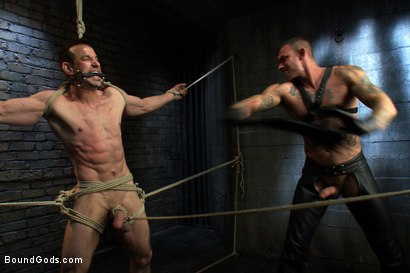 Photo number 3 from The Beast of Burden shot for Bound Gods on Kink.com. Featuring Ricky Sinz and Jason Miller in hardcore BDSM & Fetish porn.