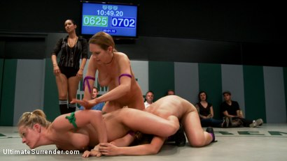 Photo number 1 from Rain & Audrey have a 100pt lead<br>Ain't over until the fat lady sings! Most intense 3rd round ever! shot for Ultimate Surrender on Kink.com. Featuring Holly Heart, Audrey Rose, Bryn Blayne, Isis Love and Rain DeGrey in hardcore BDSM & Fetish porn.