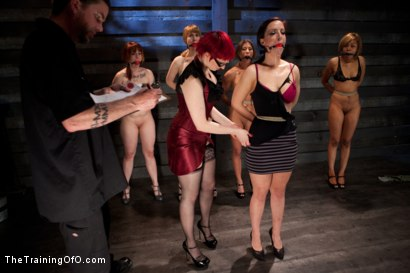 Photo number 2 from Lesbian 5 Slave Training Intake<br>Featured Trainer Claire Adams  shot for The Training Of O on Kink.com. Featuring Ariel X, Claire Adams, Bryn Blayne, Yasmine de Leon, Mackenzie Lux and Mallory Mallone in hardcore BDSM & Fetish porn.