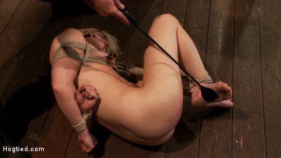 Photo number 12 from Hot blond's nipples are abuse, feet tickled, & pussy fucked with a stick, made to cum like a whore. shot for Hogtied on Kink.com. Featuring Ash Hollywood in hardcore BDSM & Fetish porn.