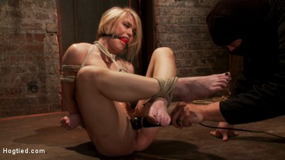 Photo number 8 from Hot blond's nipples are abuse, feet tickled, & pussy fucked with a stick, made to cum like a whore. shot for Hogtied on Kink.com. Featuring Ash Hollywood in hardcore BDSM & Fetish porn.