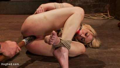 Photo number 10 from Hot blond's nipples are abuse, feet tickled, & pussy fucked with a stick, made to cum like a whore. shot for Hogtied on Kink.com. Featuring Ash Hollywood in hardcore BDSM & Fetish porn.