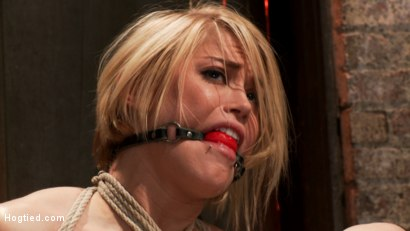 Photo number 7 from Hot blond's nipples are abuse, feet tickled, & pussy fucked with a stick, made to cum like a whore. shot for Hogtied on Kink.com. Featuring Ash Hollywood in hardcore BDSM & Fetish porn.