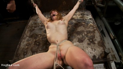 Clothes pins are whipped off this sexy amazons body. Nasty Crotch rope keeps her screaming & cumming