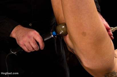 Photo number 9 from Hot flexible blond suffers a Category 5 suspension. Anal hook, heavy nipple weights, made to cum. shot for Hogtied on Kink.com. Featuring Rene Phoenix in hardcore BDSM & Fetish porn.