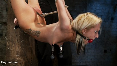 Hot flexible blond suffers a Category 5 suspension. Anal hook, heavy nipple weights, made to cum.