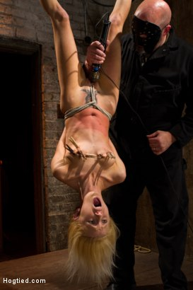 Photo number 2 from Tiny Southern Belle hung upside down, clamped, flogged, her huge nipples tortured, made to cum hard! shot for Hogtied on Kink.com. Featuring Rene Phoenix in hardcore BDSM & Fetish porn.