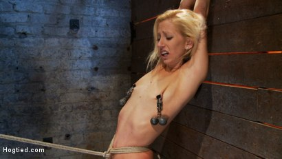Photo number 11 from Tiny sexy blond  suffers heavy weighted nipple clamps & a crotch burner that keeps her on her toes! shot for Hogtied on Kink.com. Featuring Rene Phoenix in hardcore BDSM & Fetish porn.