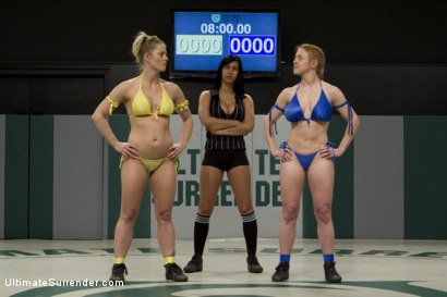 Photo number 2 from 2 hot blond fitness models battle in a hardcore, sexual, non-scripted, submission wrestling match! shot for Ultimate Surrender on Kink.com. Featuring Dee Williams and Holly Heart in hardcore BDSM & Fetish porn.