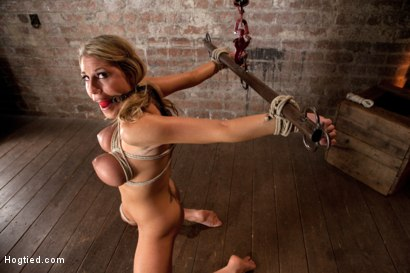 Photo number 3 from State Champion Softball player has her huge tits bound, nipples clamped, brutally skull fucked! shot for Hogtied on Kink.com. Featuring Charisma Cappelli in hardcore BDSM & Fetish porn.