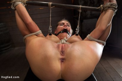 Photo number 6 from Sexy blond bomb shell w/huge tits, is anally penetrated, nipple tormented, made to squirt & cum! shot for Hogtied on Kink.com. Featuring Charisma Cappelli in hardcore BDSM & Fetish porn.