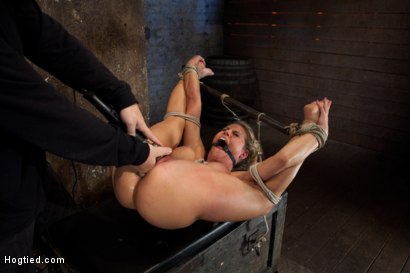 Photo number 11 from Sexy blond bomb shell w/huge tits, is anally penetrated, nipple tortured, made to squirt & cum! shot for Hogtied on Kink.com. Featuring Charisma Cappelli in hardcore BDSM & Fetish porn.