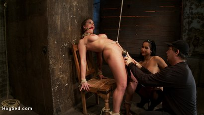 Photo number 12 from Part 1/4 of Decembers live show with Holly heart:<br>A back arching, pussy destroying tie from hell. shot for Hogtied on Kink.com. Featuring Isis Love, Matt Williams and Holly Heart in hardcore BDSM & Fetish porn.