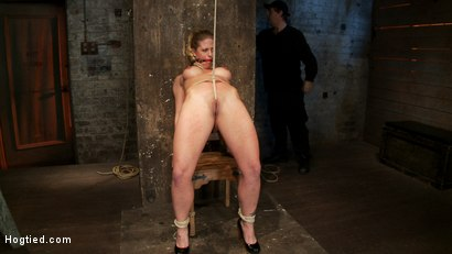 Photo number 9 from Part 1/4 of Decembers live show with Holly heart:<br>A back arching, pussy destroying tie from hell. shot for Hogtied on Kink.com. Featuring Isis Love, Matt Williams and Holly Heart in hardcore BDSM & Fetish porn.