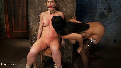 Photo number 4 from Part 1/4 of Decembers live show with Holly heart:<br>A back arching, pussy destroying tie from hell. shot for Hogtied on Kink.com. Featuring Isis Love, Matt Williams and Holly Heart in hardcore BDSM & Fetish porn.