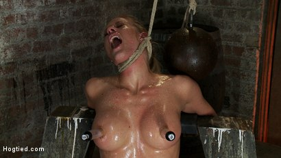 Photo number 6 from Elbows bound, knees on hard wood, nipple suction, neck rope, breath play, face fucking, made to cum! shot for Hogtied on Kink.com. Featuring Isis Love, Matt Williams and Holly Heart in hardcore BDSM & Fetish porn.