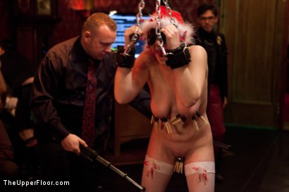Photo number 17 from Christmas Party: Part One shot for The Upper Floor on Kink.com. Featuring Dylan Ryan, Krysta Kaos, Skin Diamond, Juliette March, Mark Davis, Sparky Sin Claire, The Pope and Maestro Stefanos in hardcore BDSM & Fetish porn.