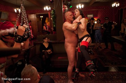 Photo number 18 from Christmas Party: Part One shot for The Upper Floor on Kink.com. Featuring Dylan Ryan, Krysta Kaos, Skin Diamond, Juliette March, Mark Davis, Sparky Sin Claire, The Pope and Maestro Stefanos in hardcore BDSM & Fetish porn.