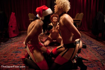 Photo number 28 from Christmas Party: Part One shot for The Upper Floor on Kink.com. Featuring Dylan Ryan, Krysta Kaos, Skin Diamond, Juliette March, Mark Davis, Sparky Sin Claire, The Pope and Maestro Stefanos in hardcore BDSM & Fetish porn.