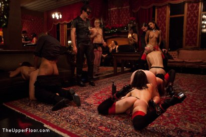 Photo number 1 from Christmas Part Two. shot for The Upper Floor on Kink.com. Featuring Dylan Ryan, Krysta Kaos, Skin Diamond, Juliette March, Mark Davis, Sparky Sin Claire, The Pope and Maestro Stefanos in hardcore BDSM & Fetish porn.
