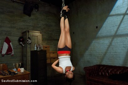 Photo number 4 from Little Nympho gets Kinky Sex Training from the Coach! shot for Sex And Submission on Kink.com. Featuring Eva Fenix and Derrick Pierce in hardcore BDSM & Fetish porn.