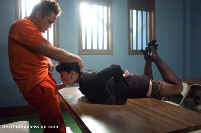 """Photo number 2 from """"Convict Lust"""" A Featured Presentation: A Lawyer Brutally Fucked and Dominated by a Vicious Criminal shot for Sex And Submission on Kink.com. Featuring Nacho Vidal and Brooklyn Lee in hardcore BDSM & Fetish porn."""