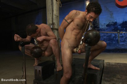 Photo number 12 from Kink Olympics - Live Shoot shot for Bound Gods on Kink.com. Featuring Tony Hunter, Brenn Wyson, DJ and Van Darkholme in hardcore BDSM & Fetish porn.