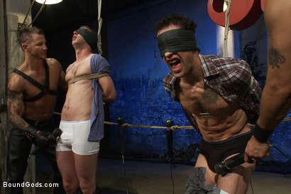 Photo number 1 from Kink Olympics - Live Shoot shot for Bound Gods on Kink.com. Featuring Tony Hunter, Brenn Wyson, DJ and Van Darkholme in hardcore BDSM & Fetish porn.