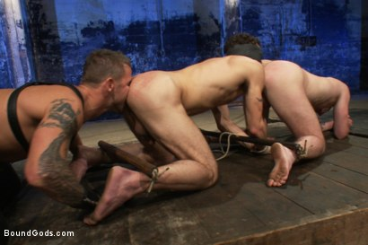 Photo number 4 from Kink Olympics - Live Shoot shot for Bound Gods on Kink.com. Featuring Tony Hunter, Brenn Wyson, DJ and Van Darkholme in hardcore BDSM & Fetish porn.