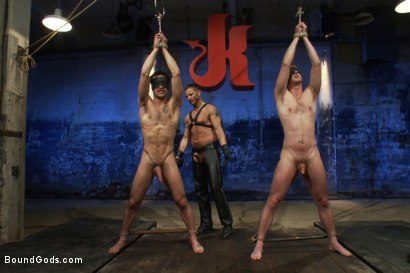 Photo number 2 from Kink Olympics - Live Shoot shot for Bound Gods on Kink.com. Featuring Tony Hunter, Brenn Wyson, DJ and Van Darkholme in hardcore BDSM & Fetish porn.