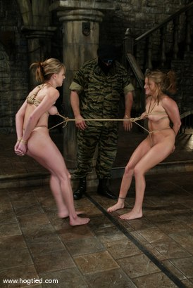 Photo number 5 from Jackie Moore, Sgt. Major and Audrey Leigh shot for Hogtied on Kink.com. Featuring Sgt. Major, Audrey Leigh and Jackie Moore in hardcore BDSM & Fetish porn.