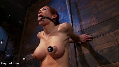 Photo number 4 from Extreme nipple torment, brutal gag, a skull fucking, while the sybian makes her cum her brains out!  shot for Hogtied on Kink.com. Featuring Rain DeGrey in hardcore BDSM & Fetish porn.