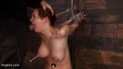 Photo number 3 from Extreme nipple torment, brutal gag, a skull fucking, while the sybian makes her cum her brains out!  shot for Hogtied on Kink.com. Featuring Rain DeGrey in hardcore BDSM & Fetish porn.
