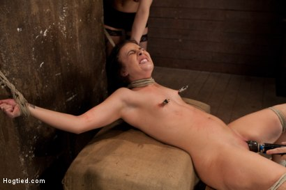Photo number 14 from Brutal cunt flogging, nipple torment & finger fucking till she squirts w/multiple screaming orgasms! shot for Hogtied on Kink.com. Featuring Ashli  Orion in hardcore BDSM & Fetish porn.