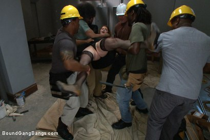 Photo number 2 from Hot Redhead Cici Rhodes Fucked by Hard Cock and Construction Tools shot for Bound Gang Bangs on Kink.com. Featuring CiCi Rhodes, Bobby Bends, Tee Reel, Jack Napier, Ken Stiles, Rico Strong and Mark Davis in hardcore BDSM & Fetish porn.
