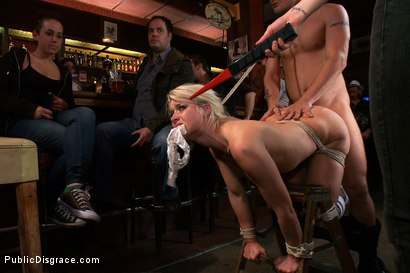 Photo number 9 from Smoking Hot Blonde is Fucked in Public Bar shot for Public Disgrace on Kink.com. Featuring Mr. Pete, Anikka Albrite and Princess Donna Dolore in hardcore BDSM & Fetish porn.
