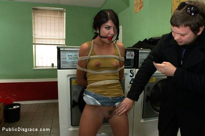 Photo number 4 from Filthy Whore Fucked at the Laundromat shot for Public Disgrace on Kink.com. Featuring James Deen, Cassandra Nix and Princess Donna Dolore in hardcore BDSM & Fetish porn.