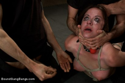 Photo number 4 from Brand New Girl Gets Tied up, Gangbanged, and Dp'ed all for the FIRST TIME EVER!!!! shot for Bound Gang Bangs on Kink.com. Featuring James Deen, Ramon Nomar, Nicole Rider, Toni Ribas, Karlo Karrera and Owen Gray in hardcore BDSM & Fetish porn.