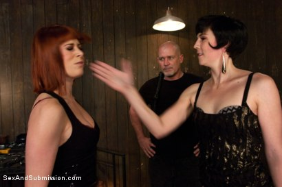 Photo number 2 from Slut Competition  shot for Sex And Submission on Kink.com. Featuring Mark Davis, Odile and Coral Aorta in hardcore BDSM & Fetish porn.