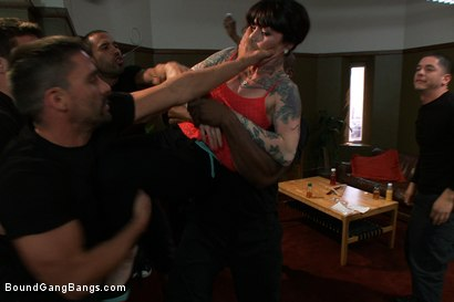 Photo number 3 from Vivienne Del Rio Fulfills her Fantasy of Being Physically Overpowered and Fucked in Every Hole shot for Bound Gang Bangs on Kink.com. Featuring Vivienne Del Rio, Ramon Nomar, Karlo Karrera, Nat Turnher, Toni Ribas, Alex Gonz and Prince Yahshua in hardcore BDSM & Fetish porn.