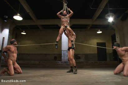 Photo number 11 from Single tail, Electricity and Suspension - Live Shoot shot for Bound Gods on Kink.com. Featuring Josh West, Chad Brock, Brian Bonds and Van Darkholme in hardcore BDSM & Fetish porn.